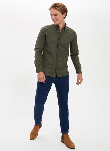 DeFacto Slim Fit Uzun Kollu Gömlek Yeşil